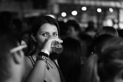 Inconspicuous (HSOBERON) Tags: hsoberon hernansoberon endorinc norebos blackandwhite blancoynegro mirada look beer cerveza 3cordilleras brew glass woman mujer nocturna bokeh nikkor 14 f14 eyes ojos