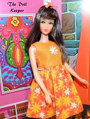 1967 Vintage TNT Mod Dark Chocolate Bon Bon Barbie Doll (The doll keeper) Tags: 1967 vintage mod tnt dark chocolatebobbon chocolate bon bonbon orange daisy daisies