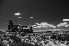 Turret Arch (Joy Forever) Tags: usa blackwhite blackandwhite anseladamsinspired nationalpark rockformations utah arches archesnationalpark turretarch