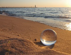 Lake Michigan (chuckh6) Tags: water beach crystalball lighthouse