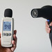 noise meter testing black hair dryer