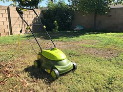 Green electric lawn mower on grass, cut lawn (yourbestdigs) Tags: lawn mower yard grass clippings mow mowing backyard frontyard front back green healthy manual gas powered electric cutting cut trim maintenance maintain home house soil clip tool garden gardening tools equipment outdoors nature service spring