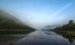 M Y S T E R Y (Alex Demich) Tags: water river surface spring reflection fog mist morning earlyhours sky trees hills panorama dnister ukraine landscape canoeing nature wilderness outdoor green blue white