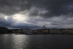 Clouds over Helsinki (Explo) Tags: clouds sea water helsinki city grey blue evening finland sky