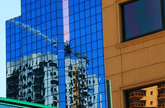 "[> Construction crane reflection <][> (Darrell Colby "" You Call The Shots "") Tags: crane restoration building glass reflection construction highrise darrellcolby"