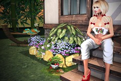 If They Had A Friend Like Ben (lauragenia.viper) Tags: bento blues chloe cosmos glamaffair hairfair2017 imageessentials ktcreatorsfestival lelutka lumipro maitreya pinkcreampie secondlife secondlifefashion slipperoriginals ysys top capris sandals blond blonde avatar virtual sexy bows garden flowers mouse outdoors person girl woman square1