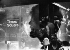 (mikehip) Tags: blackandwhite portrait nyc ny kodak 35mm doubleexposure filmisnotdead filmswap subway summer people holga lomo
