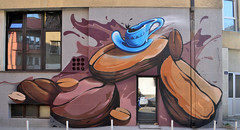 piros // coffe shop // 2016 (piros_online) Tags: piros graffiti street art streetart serbia srbija balcans balkan murals illustration freedom style walls collor fun krusevac ps ohc modern world funky new bicycle flying cup coffe relax chill time exterior photo work braon mtn mtn94