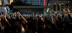 """memorable night memorable lights"" (hugo poon - one day in my life) Tags: xt2 35mm hongkong central edinburghplace 24march2017 johntsang chiefexecutiveelection citynight people crowd rally phone lights memorable"