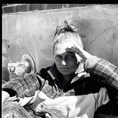 "Woman outside the Salvation Army hostel. (Xsbmrnr (Please read profile before ""following"") Tags: poverty photojournalism street streetphotography streetportrait streetpeople hamilton hamiltonontario salvationarmy blackandwhite bandw blazinal rodinal mediumformat mamiya mamiya6 trix trix400 socialphotography documentary"