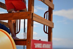 Day 173 : Is for ....The Man On Duty (Storyteller.....) Tags: lifeguard duty man red sea summer greece tower swimsuit