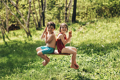 A twofer (Elizabeth Sallee Bauer) Tags: nature active backyard beautyinnature bonding boy child childhood children family freshair fun girl happiness kid kids love nonurbanscene outdoors outside playing qualitytime sports spring summer swing swinging together togetherness trees youth
