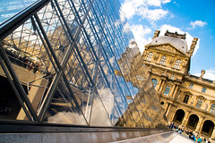 Old and new (Phototravelography) Tags: france loure paris architecture art blue clash construction contrast glass metal pyramid sky