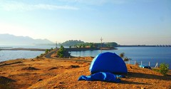 Perfect place to camp! (ambuj.soni) Tags: campaign dam water landscape mountain tent inspiration outdoor nature scenery maharashtra vaitarna