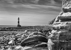 Chalk cliffs and Lighthouse- mono (sussexscorpio) Tags: 2017 beach eastsussex eastbourne lighthouse seafront sussex cliffs rocks rocky sea seashore water waves chalk chalky mono monochrome white blackandwhite bw canon canon80d landscape seascape beachyhead