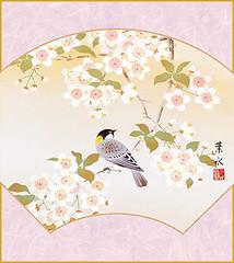 Cherry and great tit (Japanese Flower and Bird Art) Tags: flower cherry prunus rosaceae bird great tit parus major paridae yosui ogata nihonga shikishi japan japanese art readercollection