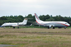 N733UK and N623NP (Chris Goodwin - AirTeamImages) Tags: boeing 737 737300 n733uk gulfstream gii g2 n623np business jets stored storage bornemouth airport hurn boh avgeek planespotting