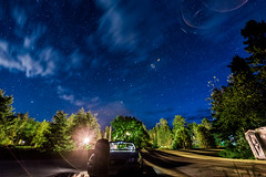 Parking Lot in Knife River 4 (8R0WN13) Tags: green stars parking lot knife river duluth highway 61 minnesota nighttime long exposure sony a7r ii a7r2 a7rii