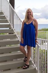 061517Deerfield_2517 (WindJammer Photo) Tags: june 2017 canon 2470mml 60d florida vacation beach ocean water sand blue dress platform wedge heel highheel smile beauty beautiful woman wife legs stairs