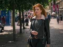 Ginger (Leanne Boulton) Tags: urban street candid portrait portraiture streetphotography candidstreetphotography candidportrait streetportrait eyecontact candideyecontact streetlife woman female girl face facial expression eyes look emotion redhead ginger orange teal cinematic splittone leather jacket tone texture detail depthoffield bokeh summer naturallight outdoor sunlight light shade shadow city scene human life living humanity society culture fashion people canon canon5d 5dmarkiii ef2470mmf28liiusm color colour glasgow scotland uk