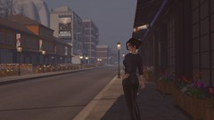 Mist (alexandriabrangwin) Tags: alexandriabrangwin secondlife 3d cgi computer graphics virtual world photography city scene street misty creepy afternoon dark reddish glow staning looking inquisitive mystery black leather pants blue tshirt flowers boxes buildings america old style hair updo lanterns streetlamps