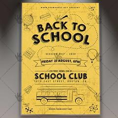 Back to School - Premium Flyer PSD Template (psdmarket) Tags: backtoschool back2school blackboard books celebration chalkboard classrooms college elementaryschool event fest festival school