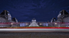 Light Trails at the Louvre (gimmeocean) Tags: pyramidedulouvre louvrepyramid louvre pyramid glasspyramid impei napoleoncourt pyramidofthelouvre paris france bluehour lighttrails le longexposure