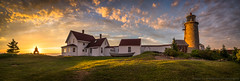 Monhegan Lighthouse Panorama (BenjaminMWilliamson) Tags: architecture attraction building destination gifts grass house image island landscape light lighthouse me maine monhegan nature newengland panoramic photo photography prints scenery scenic sky summer sunset tourism tourist travel outdoors tree