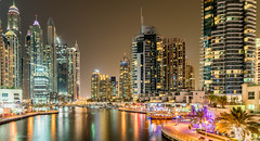 Dubai Marina (Dean Packer) Tags: dow skyscraper uae marina dubai boat skyline water tourist tourism dhow wooden skyscape nightscape samyang