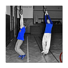 two blue hung (t.horak) Tags: rings boys two blue gym hang children exercise square