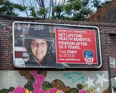 """Become a NYC Firefighter"" Recruitment Billboard, Hunts Point, Bronx, New York City (jag9889) Tags: 2017 20170603 ad advertisement advertising allamericacity architecture billboard bravest bronx building e286 fdny female firedepartment firedepartmentofthecityofnewyork firefighter firstresponder glendale graffiti house huntspoint mural ny nyc newyork newyorkcity newyorkcityfiredepartment newyorksbravest outdoor painting recruitment signboard southbronx streetart tagging tatscru thebronx usa unitedstates unitedstatesofamerica wall welcome woman jag9889"