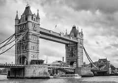 Tower Bridge (mhoffman1) Tags: a100 basculebridge butlerswharf england europe london riverthames sonyalpha southwark towehamlets blackandwhite bridge cloudy iconic monochrome river stormy suspensionbridge