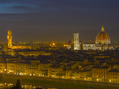 Florence (Wizard CG) Tags: italia toscana tuscany firenze florence cityscape piazzale michelangelo santa croce maria del fiore palazzo vecchio arno river sky cloud colour light epl7 architecture building skyline city world trekker ngc hdr dusk roof night