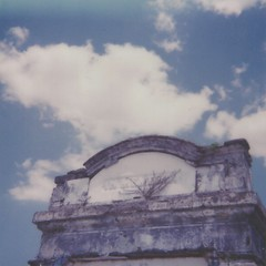 In Memoria (dreamscapesxx) Tags: instant polaroid theimpossibleproject polaroid600businessedition impossible600colorfilm inmemoria mausoleum outforawalk inthecemetery endofcanalstreet cypressgrovecemetery neworleansla roadtrip bluesky clouds snapitseeit
