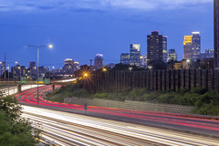 Minneapolis from Augsburg (Sam Wagner Photography) Tags: minneapolis minnesota twilight sunset dusk colorful blue hour long exposure traffic car trails skyline cityscape augsburg college