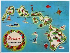 Hawaii State Map (Kille.wips) Tags: postcard statemap usa hawaii vintage reprint