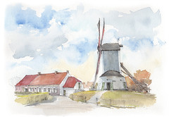 Gistel, Oostmolen, België (Linda Vanysacker - Van den Mooter) Tags: watercolour visiblytalented vanysacker vandenmooter tekening sketch schets potlood pencil lindavanysackervandenmooter lindavandenmooter drawing dessin croquis crayon art aquarelle aquarell aquarel akvarell acuarela acquerello 2017 westvlaanderen vlaanderen molen moulin mill