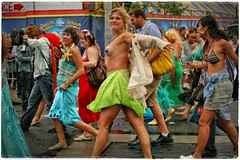 """""""Fashion Tip: THIS Is A Proper Response To A Tight Jacket! Remember It. Use It !!!""""  ;;-) (Alexxir) Tags: mermaid parade girl topless pasties limeskirt people brooklyn newyork"""