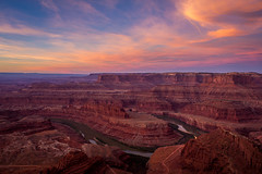 Dead Horse Point Sunrise (NickSouvall) Tags: dead horse point state park moab utah canyonlands canyon gorge beauty beautiful morning orange pink red cliffs sunrise clouds sky blue green river rock geology view landscape nature wild wilderness photo photography picture