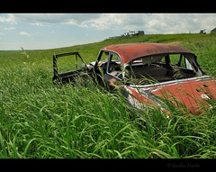 Axed (Gordon Hunter) Tags: ford zephyr markii mark car auto vintage red black rust green summer prairies grass long abandoned derelict decay door open country rural countryside nikon d5000 ab alberta canada gordon hunter