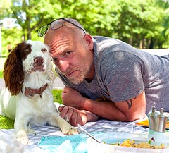 A Picnic in the Sunshine (Missy Jussy) Tags: rupert rupertbear dog pet man park cliftonpark rotherham picnic sunshine sunlight outdoor outside trevorkerr naturallight spaniel springerspaniel england puppy canon canon5dmarkll 50mm ef50mmf18ll canon50mm