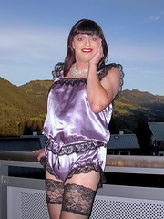 Shiny satin (Paula Satijn) Tags: sexy hot girl gurl tgirl satin silk shiny teddy teddie playsuit lace lilac black stockings stockingtops happy smile mountains view outdoor