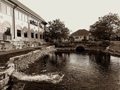 Where the water flows (Rupam Das) Tags: water flowing outdoor house nature lake monochrome blackandwhite bw
