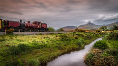 Pulling into Wales.... (Einir Wyn Leigh) Tags: train landscape welsh heritage nature natural colour stream river water green mountains sky clouds love pride outdoors locomotive steam whr nikon porthmadog wales cymru uk weather