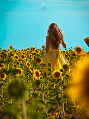 Under the Sun, Valensole, Provence, FRANCE (Domi Art Photography) Tags: modele model mode fashion dress robe jeune belle beauty beautiful paca france valensole provence blonde blond long hair cheveux fille girl woman femme under sun light yellow nature camps champs tournesol sunflower