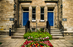 Moral Philosophy, Logic and Metaphysics (Brian Travelling) Tags: standrews university universityofstandrews moralphilosophy logic metaphysics buildings building architecture architectural two doors flower bed pavement path stairs steps sandstone railings