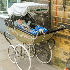 246 -  Saltaire - Pram on Victoria Road (1 of 1) (md2399photos) Tags: 2jun17 almshouses davidhockney robertspark saltaire saltaireunitedreformedchurch saltsmill victoriahall