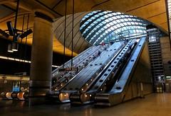 Canary Wharf Tube Station (PeskyMesky) Tags: london canarywharf docklands tube underground escalator uk architecture