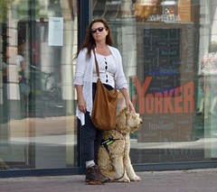 Met haar hond . (Franc Le Blanc .) Tags: panasonic lumix woman dog waiting sunglasses candid streetphoto