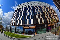 Tomorrow - Media City (jonnywalker) Tags: mediacityuk manchester salfordquays architecture salford quays media city greatermanchester buildings premierinn hotel fisheye offices
